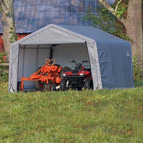 tan shelterlogic with tarp cover stl foot portable x autoshelter garage
