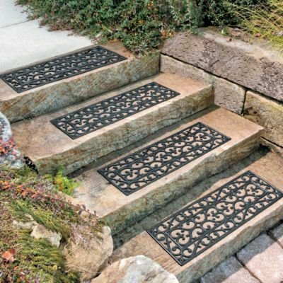 the puchan outdoor black scrollwork rubber non slip stair treads review