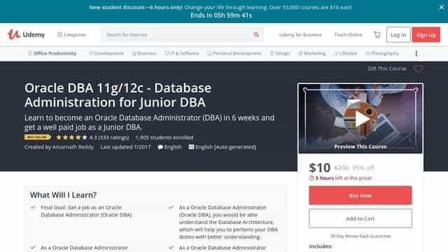 Oracle DBA 11g12c - Database Administration for Junior DBA