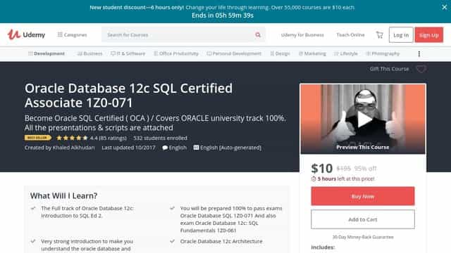 Oracle Database 12c SQL Certified Associate 1Z0-071