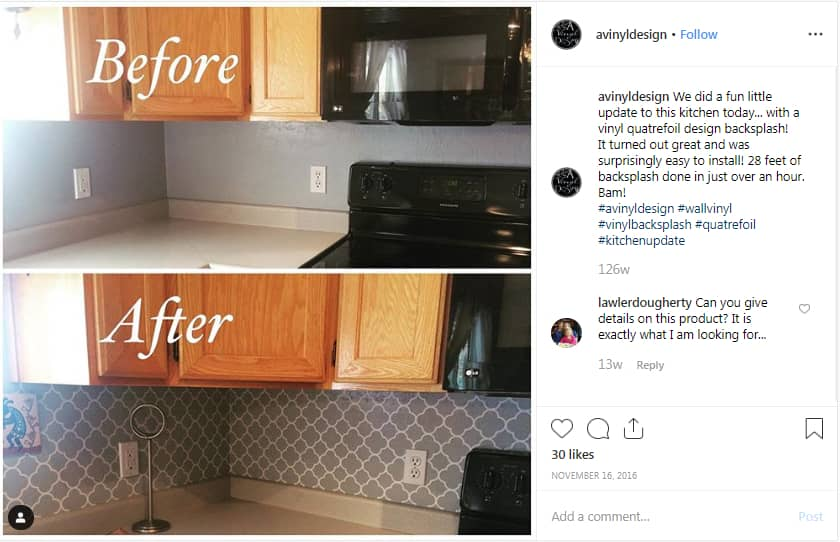 "A Vinyl Design on Instagram ""We did a fun little update to this kitchen today with a vinyl quatrefoil design backsplash It turned out great and was surprisingly…"""