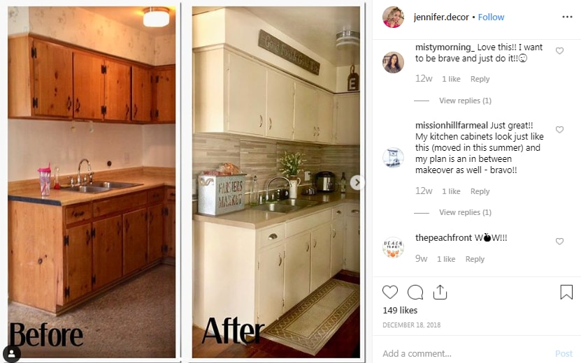 "Jennifer on Instagram ""Another before and after pic of how my kitchen was when we first got our house and how it is now I call this is temporary make up…"""