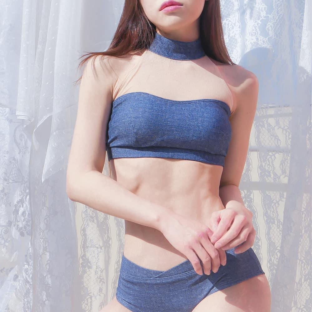 denim jean bikini set