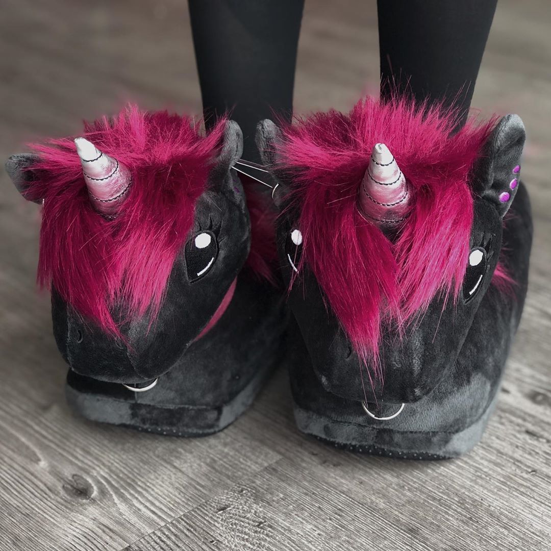black unicorn slippers