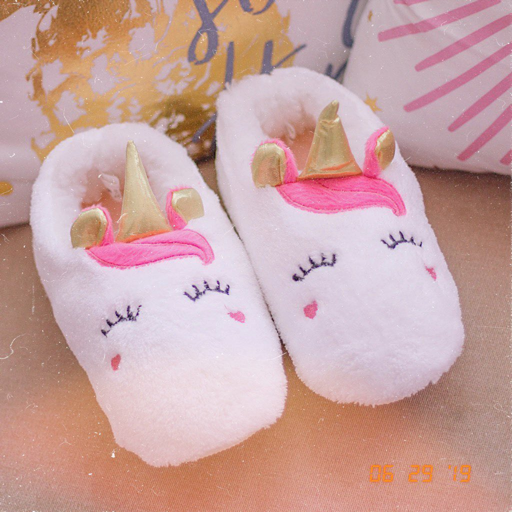fluffy white unicorn slippers